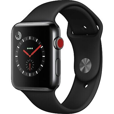 $ CDN483.13 • Buy Apple Watch Series 3 42mm Stainless Steel Case Black Band GPS+Cellular MQK92LL/A