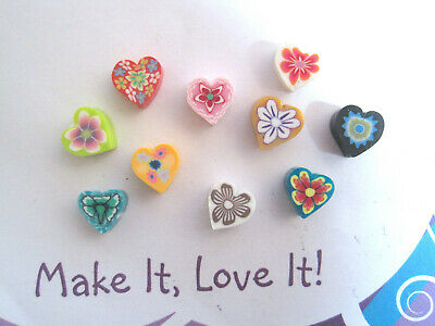 £1.39 • Buy 10 X CUTE HEART FLOWER CLAY BEADS 8mm 9mm Retro Old School Mixed Colours Daisy