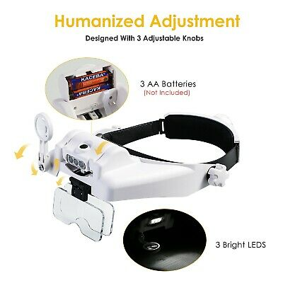 Headband Magnifying Glass With Light Mount Magnifier Glasses Visor For Jewelers • 20.79£