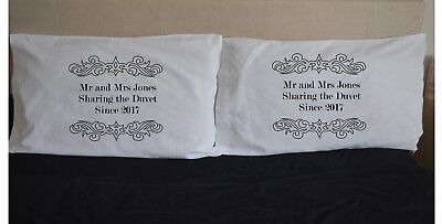 SHARING THE DUVET Since Date Name Personalised Pillowcases Pillow Case Wedding • 15.99£