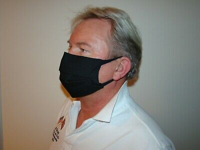 4 Ply Breathable Black Cotton Face Mask. Flu/pollution/dust.  Washable • 6£