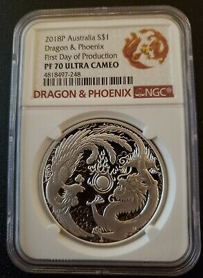 $109.99 • Buy 2018 Australia $1 Dragon & Phoenix Proof 1 Oz 9999 Silver Coin - NGC PF 70 UCAM