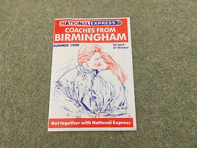 National Express Birmingham Timetable Leaflet Summer 1990  • 3.99£