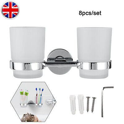 2 Pieces Chrome Tumbler With Toothbrush Holder Bathroom Wall Mounted Accessory • 10.33£