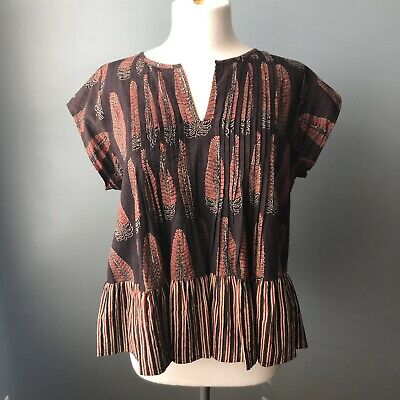 $ CDN42.29 • Buy Anthropologie Kopal Contrasting Leaf Print Top Sz S