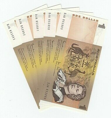 AU35.95 • Buy AUSTRALIA 1982 (UNC) ONE DOLLAR $1 NOTES X 5 - CONSECUTIVE SERIAL NUMBERS