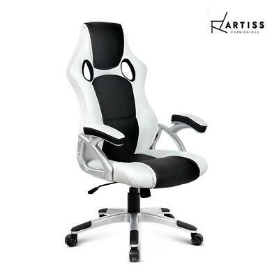 AU147.03 • Buy Artiss Gaming Office Chair Computer Chairs Leather Seat Racer Racing Black White