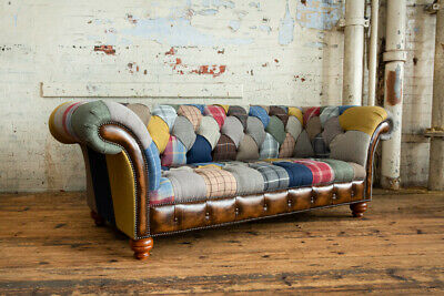 £1295 • Buy Handmade 3 Seater Multi Colour Wool & Leather Patchwork Chesterfield Sofa