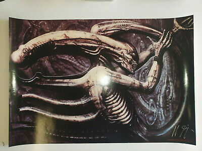 HR Giger Alien Prometheus NECRONOM IV Signed Poster From The 90's Very Rare!!! • 650£
