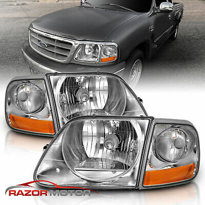 $80.96 • Buy For 97-03/02 Ford F150/Expedition Lightning Style Chrome Headlight + Corner Pair