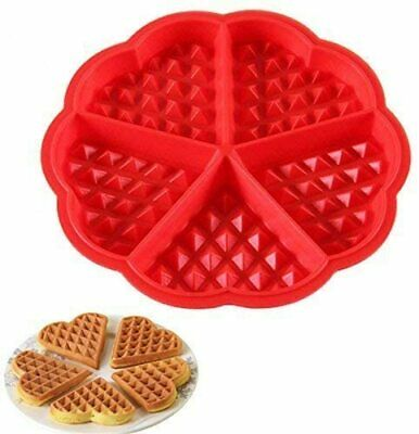 £2.99 • Buy Silicone Waffle Pan Cake Baking Chocolate Baked Waffle Maker Mold Mould Tray Red