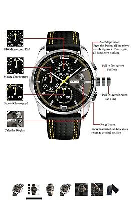 YISUYA Military Chronograph Stopwatch With Date Display, Men's Leather Band W... • 14.95£