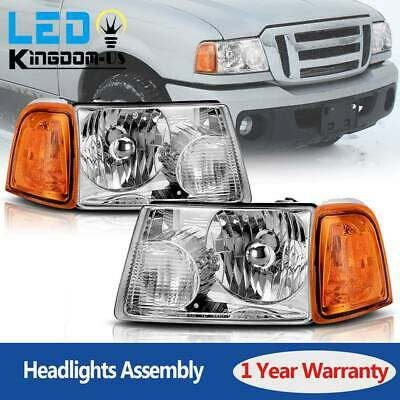 $69.50 • Buy For 2001-2011 Ford Ranger Headlights Replacement Chrome Headlamp Assembly Pair