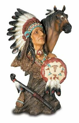 Realistic Effect Native American Indian And Horse Bust Statue Sculpture • 44.95£