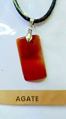 AU3 • Buy AGATE Short Necklace With Black Leather Chain, Brand New, Unwanted Gift