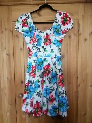 £4.99 • Buy Hearts And Roses Dress UK 8 50's Retro Vintage Swing Tea With Underskirt