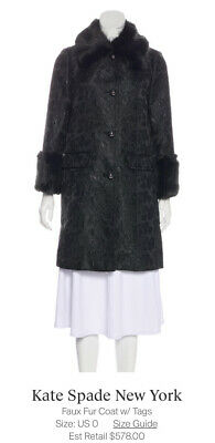 AU485.69 • Buy NWT Kate Spade Brocade & Faux Fur Coat W/tags $578 Size 0