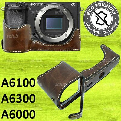 $ CDN25.16 • Buy Sony A6000 A6300 PU Leather Half Case Cover - Coffee Brown