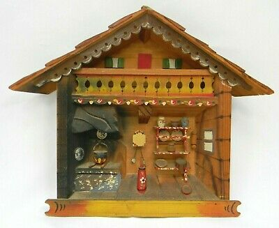$19.95 • Buy Vintage Hand Carved 3D Wooden Kitchen Scene 9  Plaque Made In Italy ALPS