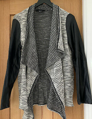 Primark Grey Waterfall Cardigan With Black Faux Leather Sleeves Size 14  • 9.99£