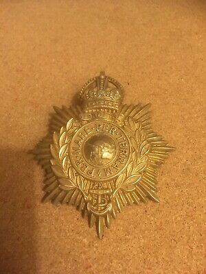 WW1 Royal Marines Gibraltar Helmet Plate Cap Badge (1920) • 55£