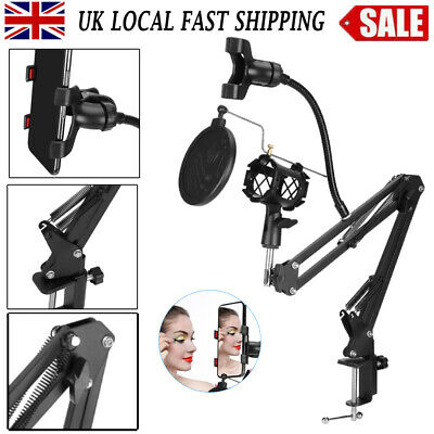 Adjustable Microphone Stand Studio Broadcast Boom Scissor Arm Holder Mic Kit UK • 14.99£
