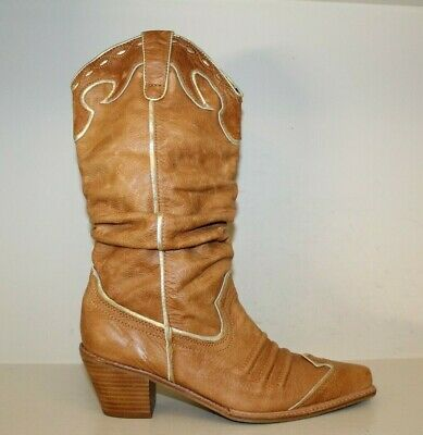 $36.16 • Buy Womens NaNa Brown Leather Wing Tip Slouch Cowgirl Cowboy Western Boots Sz 9.5