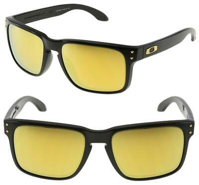 AU179 • Buy Oakley HOLBROOK Sunglasses Polished Black - 24K Gold Iridium Lens 9102-E355