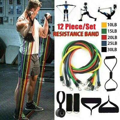 AU23.89 • Buy 12PCS Heavy Duty Resistance Bands Set Fitness Gym Tubes With Handle Door Anchor