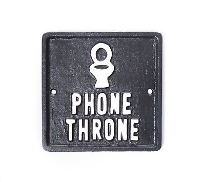 Phone Throne Iron Sign   Funny Bathroom Wall Art Plaque Decoration   Home Gift • 9.99£