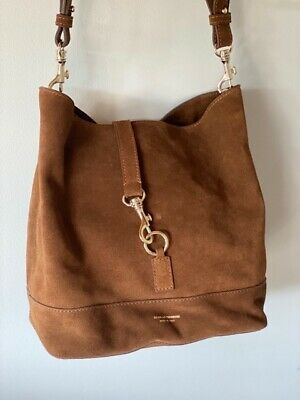 AU81 • Buy New - SCANLAN THEODORE Soft Leather Suede Shoulder Bag - Brown With Gold Clips