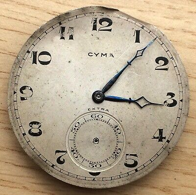 Cyma Extra 763 NO Funciona For Parts Pocket Watch Hand Manual 42,8mm Bolsillo • 84.50£