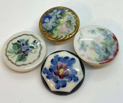 $19 • Buy ANTIQUE HAND PAINTED FLORAL LARGE BUTTON LOT OF FOUR 32-36mm BUTTONS VICTORIAN