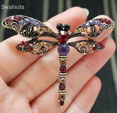 £5.19 • Buy Vintage Style Dragonfly Brooch Purple Crystal Antique Gold Insect Pin Broach