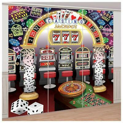 $12.99 • Buy CASINO SCENE SETTER Party Wall Decoration Slot Machines Mega Jackpot Backdrop