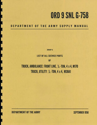 $82.82 • Buy M38A1 Jeep Parts List G-758 Book 1/4 Ton Willys Jeep M170 US Army Jeeps 4x4