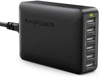 AU48.68 • Buy RAVPower 60W 12A 6-Port USB Charger Desktop Charging Station With ISmart (black)