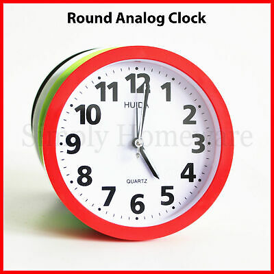AU14.99 • Buy Round Analog Alarm Clock Analogue Wall Clocks Bright Light Colours Bedside Desk