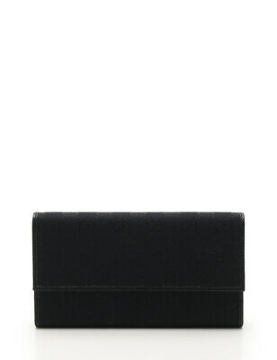 $304 • Buy GUCCI GG Canvas Folded Long Wallet Canvas Leather Black