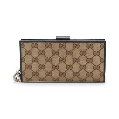 $421 • Buy GUCCI GG Canvas Folded Long Wallet Canvas Leather Beige Black