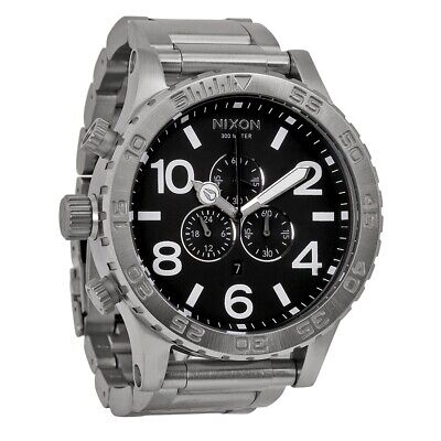 £195 • Buy New Nixon Mens A083-000 Black Dial Silver Chrono Watch - Next Day Delivery
