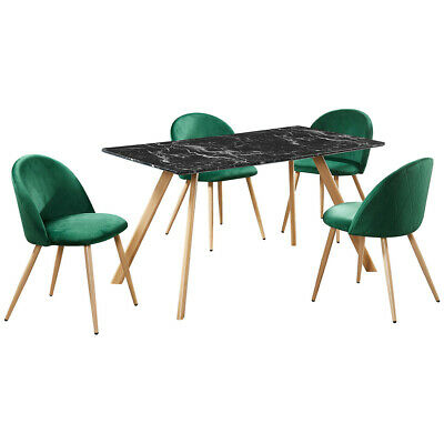 Marble Effect Dining Table And Chair Set With 4 Seats | Black Green Grey Pink • 352.99£