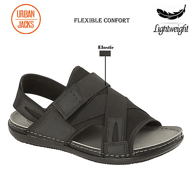 Mens Faux Leather Sandals Elastic Light Weight Walking Hiking Beach Shoes Size • 11£
