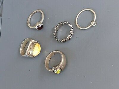 $ CDN52.84 • Buy Sterling Silver Ring Lot Of 5.   All About Size 6.5See Pics B