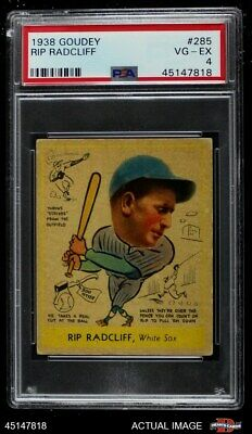 $145 • Buy 1938 Goudey Heads Up Rip Radcliff #261 / #285 White Sox PSA 4 - VG/EX