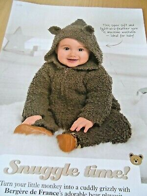 BABY BEAR PLAY SUIT KNITTING PATTERN 🐻0-6 Mnths BERGERE DE FRANCE TEDDY ARAN 🍼 • 0.99£