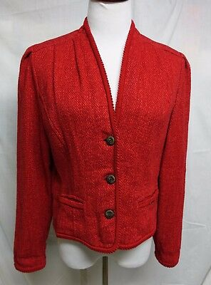 $19.99 • Buy GEIGER Austria Red Cotton/Linen Jacket Vintage EXCELLENT 40 (US 10)