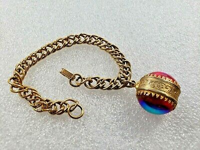 $3.24 • Buy Signed Emmons ~ Gold Tone Metal Bracelet Pretty Doube Side Charm Great Colors