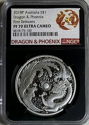 $68 • Buy 2018 Australia $1 1oz  Dragon & Phoenix NGC PF70UC First Releases Black Core