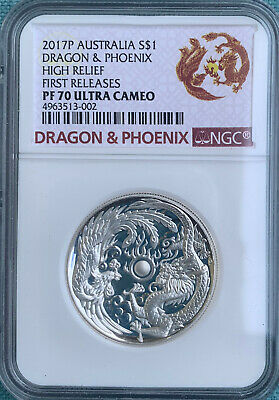 $72 • Buy 2017P Australia   Dragon & Phoenix 1 Oz Silver NGC PF70 FR High Relief